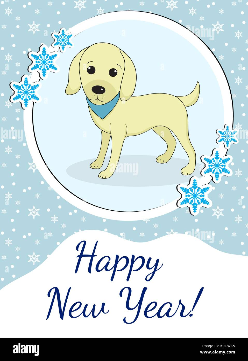 Happy New Year Greeting Card With Cute Dog Puppy Chinese New Year