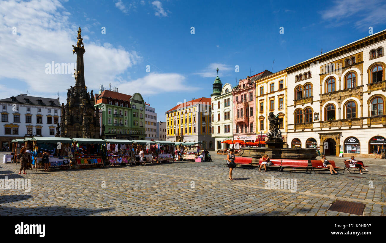 Main square of the historical old town of Olomouc. - Stock Image