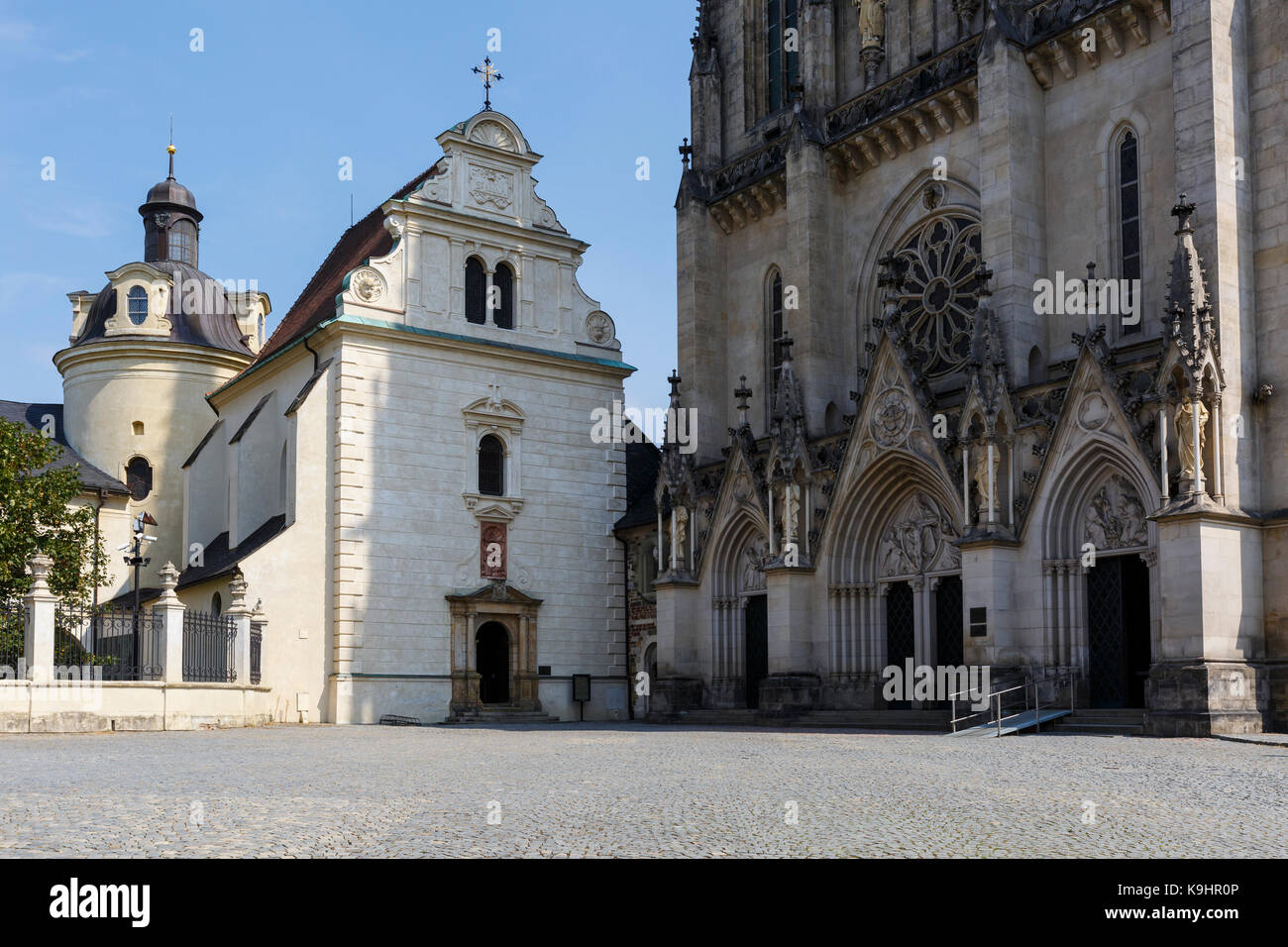 Gothic cathedral in the old town of Olomouc. - Stock Image