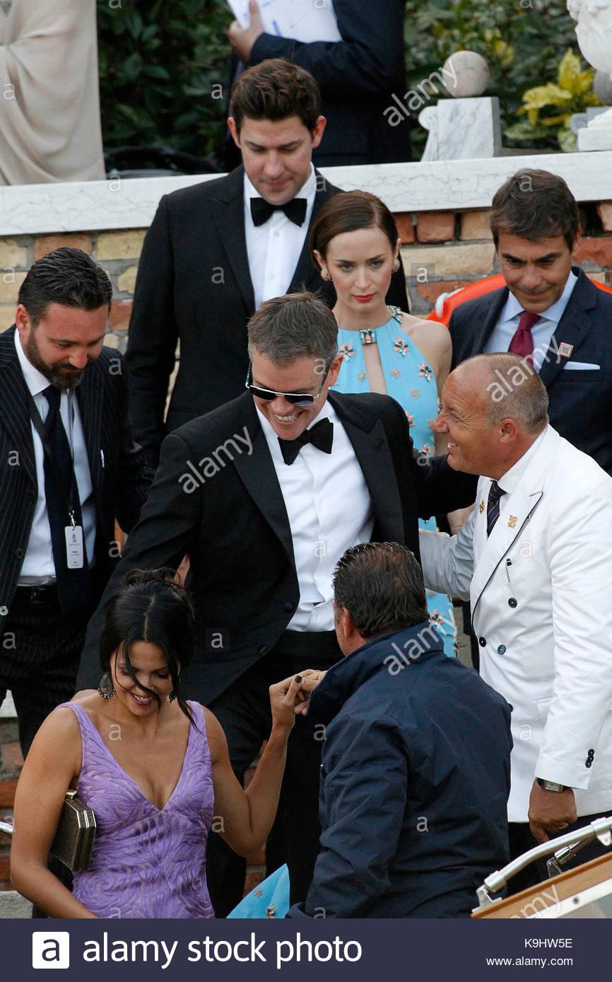 Matt Damon, John Krasinski, Emily Blunt and Luciana Barroso Stock ...