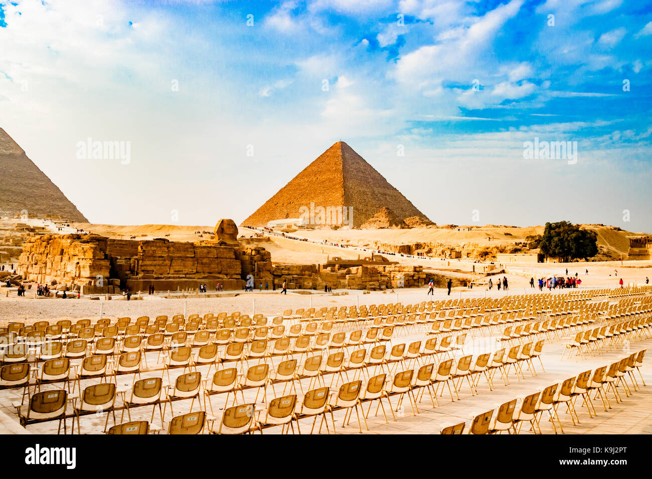 Chairs near the pyramid in Cairo, Egypt - Stock Image