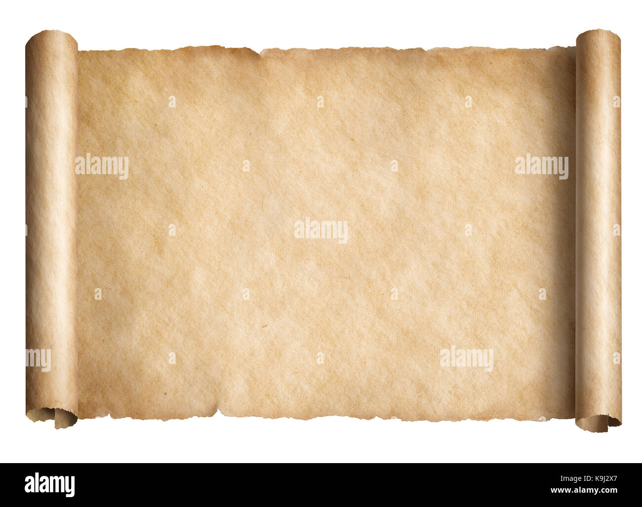 Old paper scroll or parchment isolated horizontally oriented 3d illustration - Stock Image