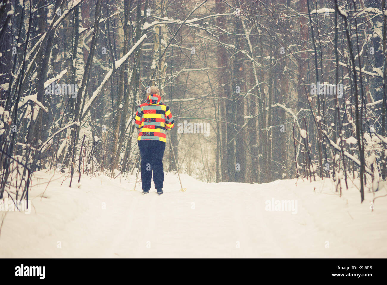 Skier moving very fast in forest. healthy lifestyle - Stock Image