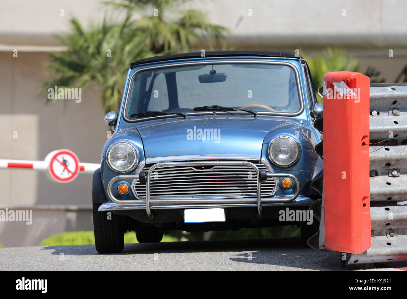 Blue Retro Car Parked on the Street - Stock Image