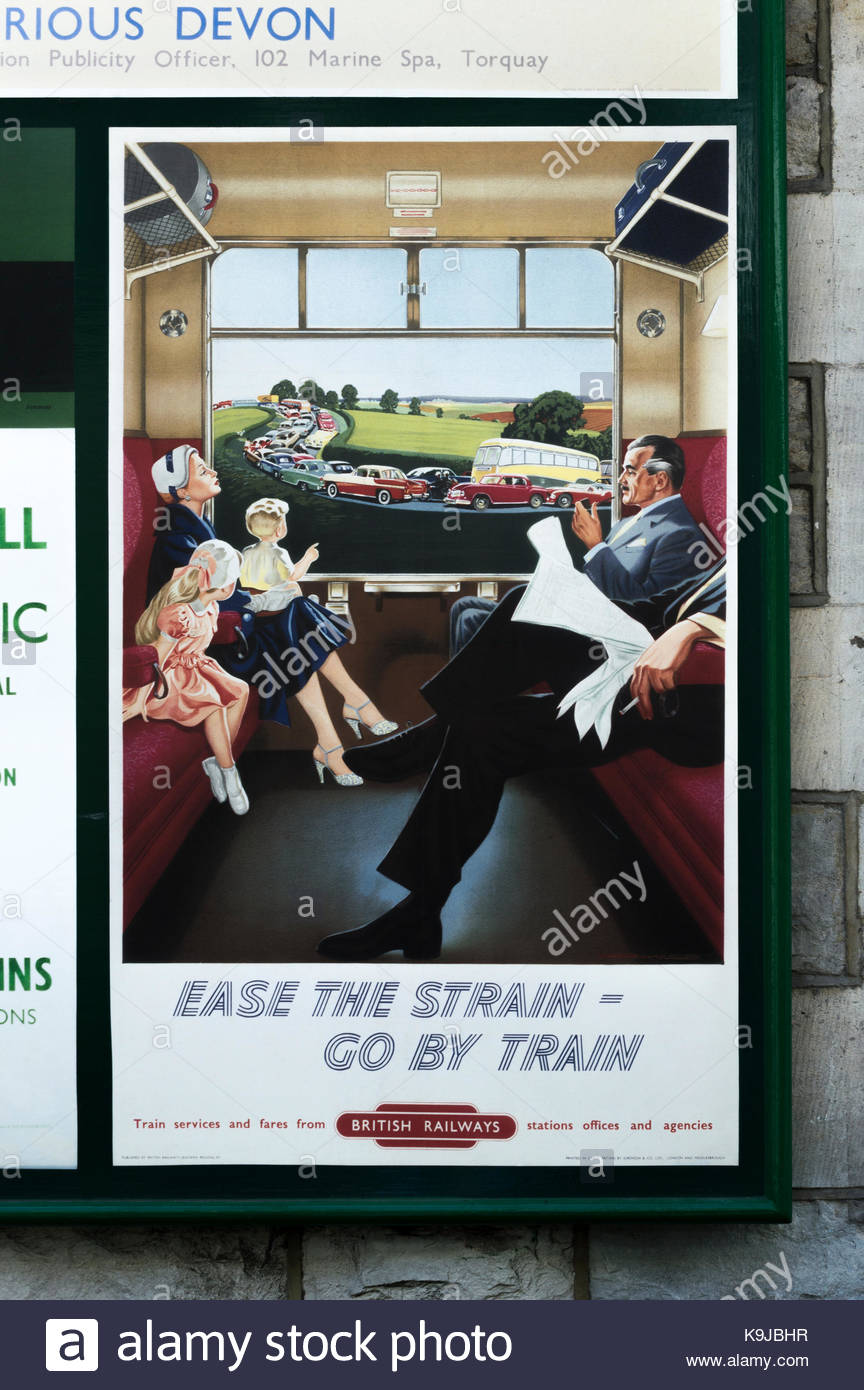 Ease The Strain - Go By Train, Old fifties style British Railways poster promoting train travel on the Swanage steam - Stock Image