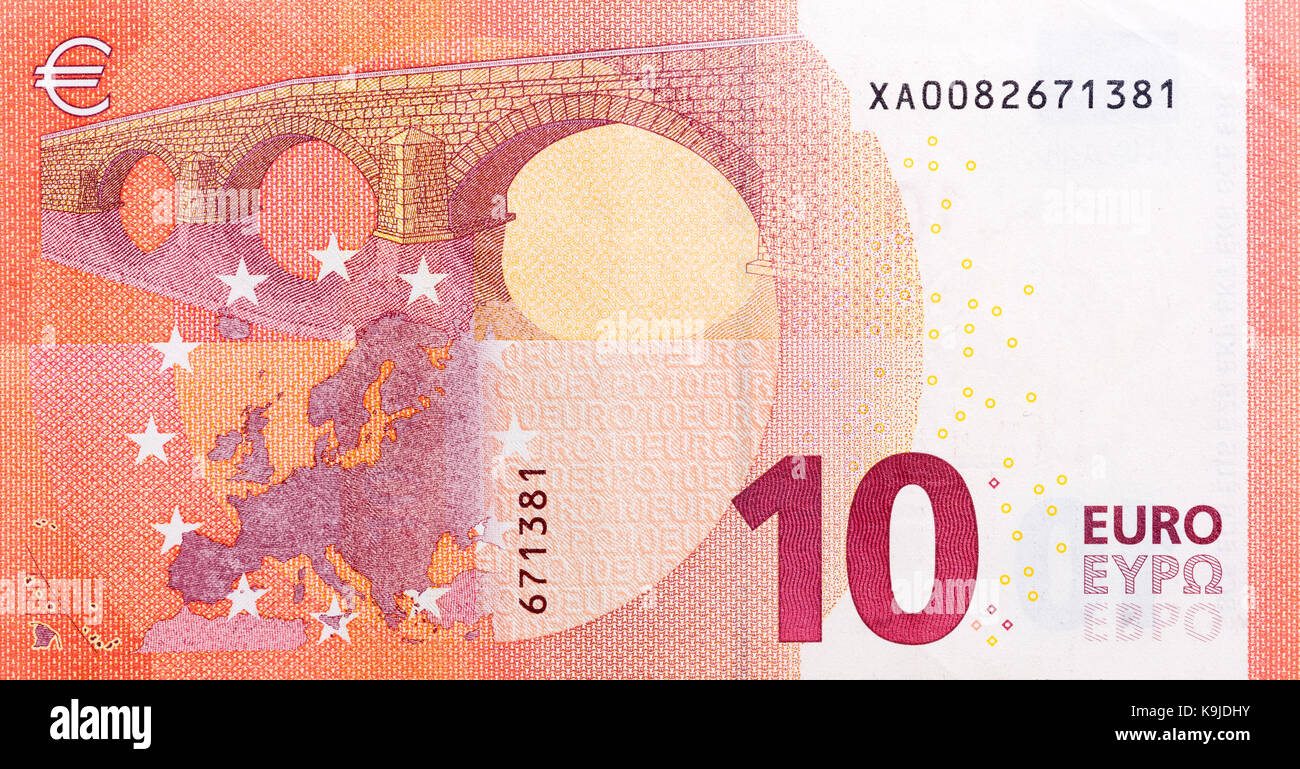 Ten euro banknote, back side. High resolution photo - Stock Image