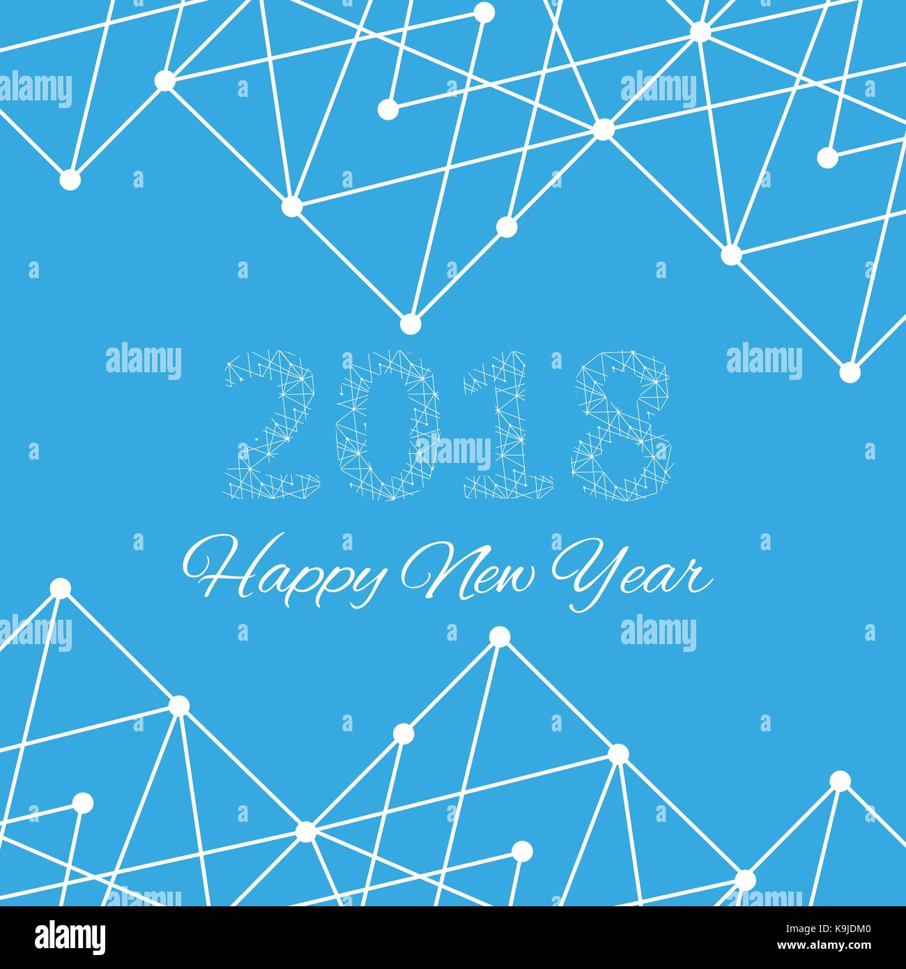 Text design Christmas and Happy new year 2018. Graphic background molecule and communication. Connected lines with Stock Vector