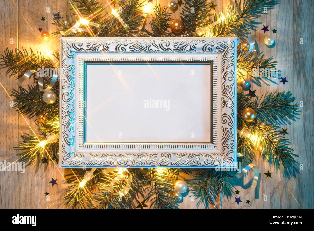 Christmas fir tree with white festive frame. Merry Christmas and ...