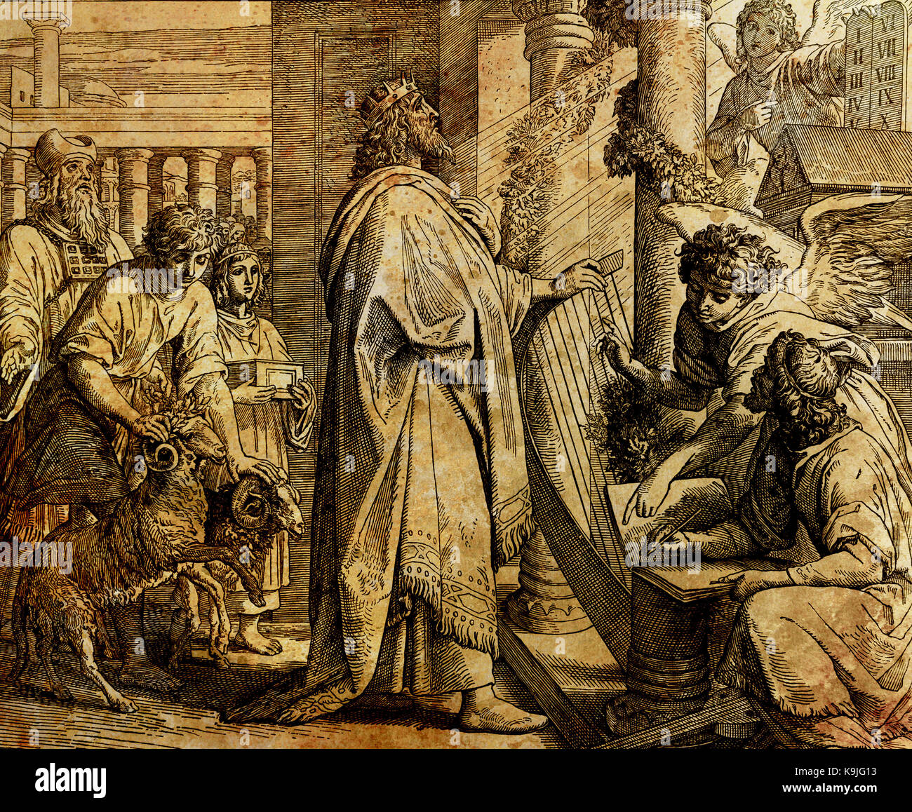 The psalms of king David, graphic collage from engraving of Nazareene School, published in The Holy Bible, St.Vojtech Stock Photo