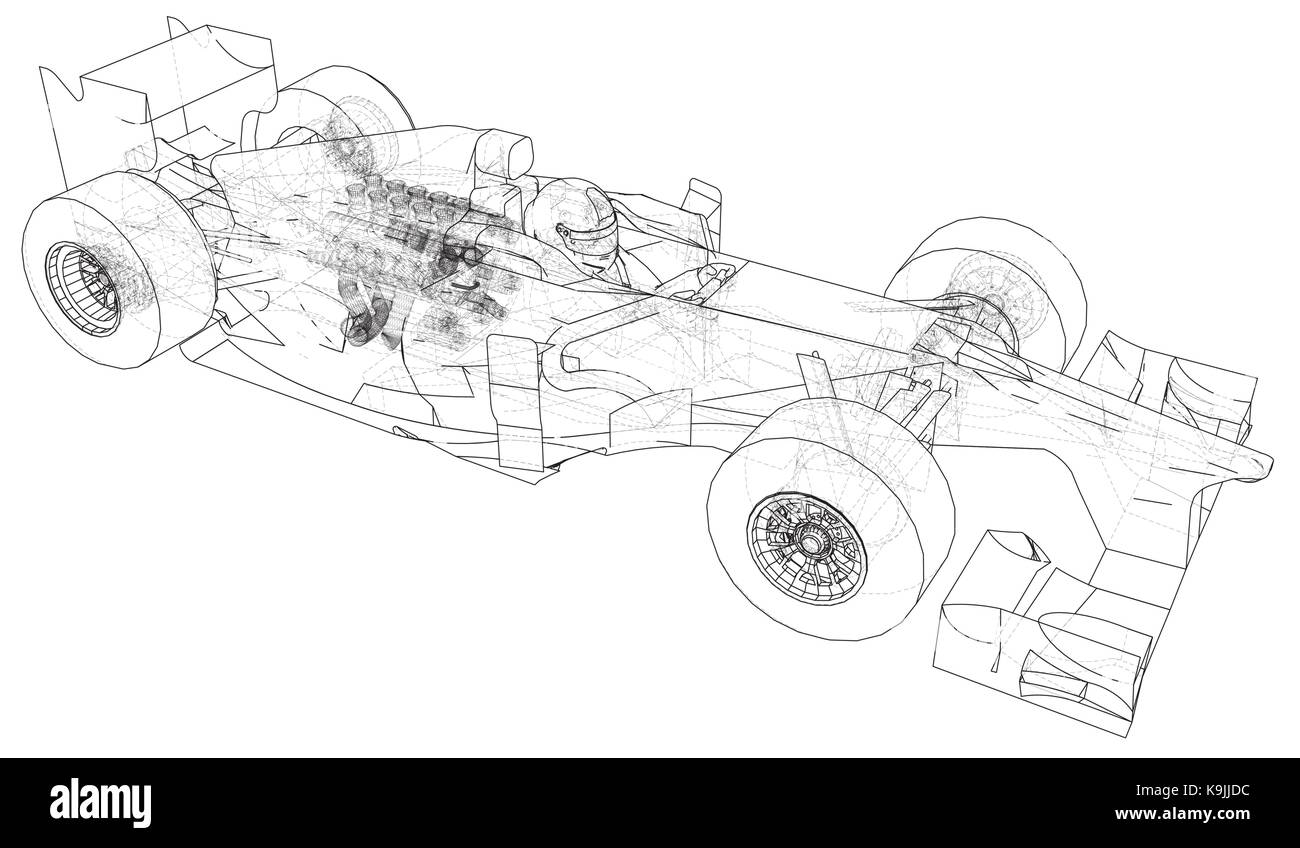 Formula One Car Racing Drawing Stock Photos Basic Race Chassis Wiring Schematic Wire Frame Eps10 Format Vector Rendering Of 3d