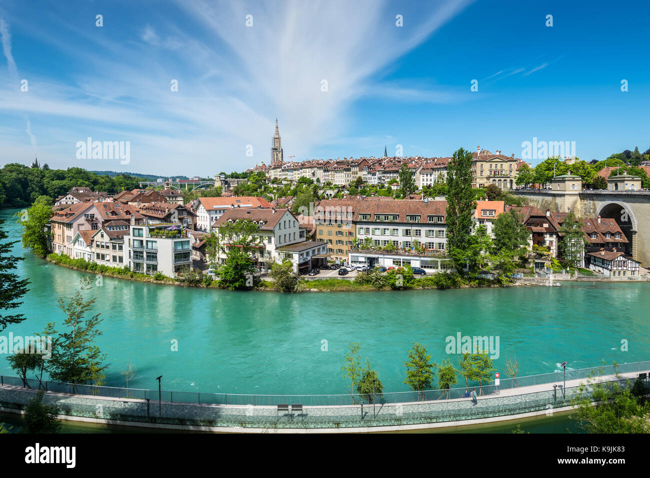 Bern, Switzerland - May 26, 2016: View of Bern old town over the Aare river in Switzerland. Stock Photo