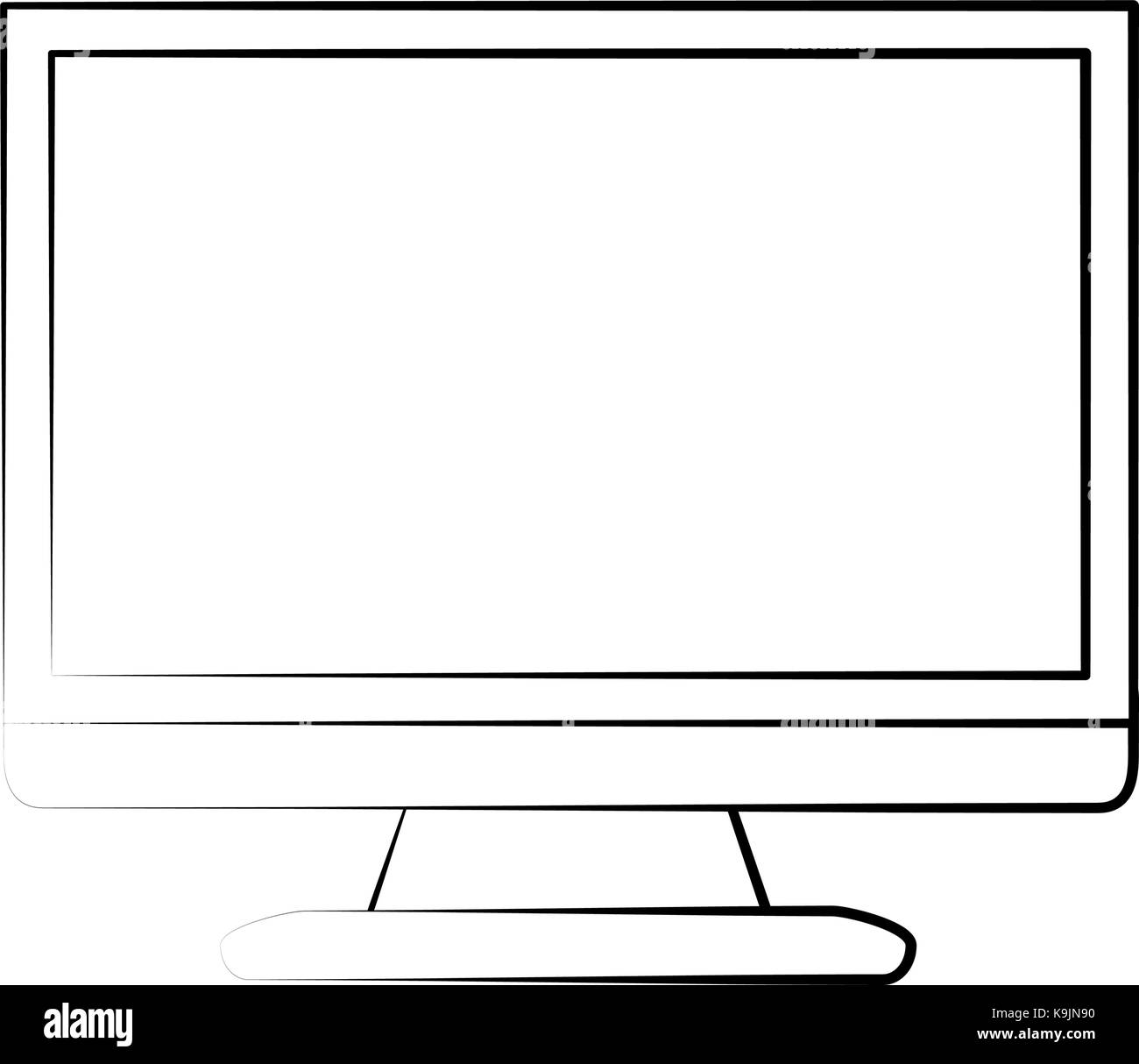 Computer monitor isolated - Stock Image