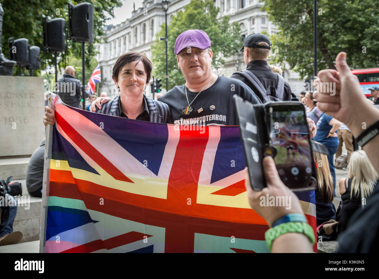 London, UK. 23rd Sept, 2017. Anne Marie Waters(L), UKIP candidate and director of Sharia Watch UK, poses for photos - Stock Image