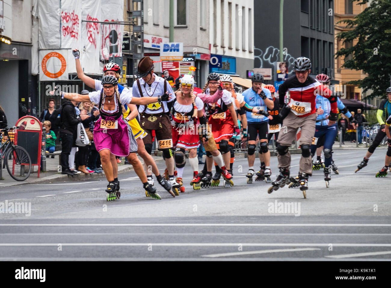Berlin Germany. 23 September 2017, Annual In Line Skating Marathon. In line skaters pass through RosenthalePlatz as they compete in the annual roller skating event. Eden Breitz/Alamy Live News Stock Photo