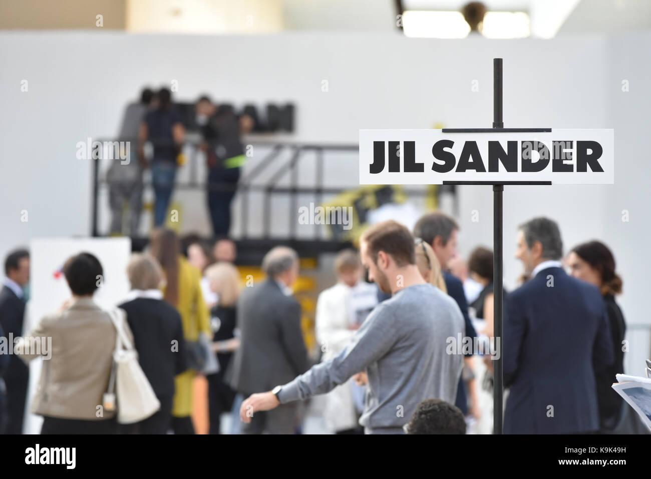 Milan, Italy. 23rd September, 2017,  Fashionable people attending Jil Sander fashion show during Milan Fashion Week - Stock Image