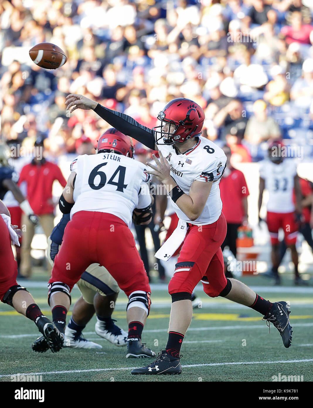 Annapolis Maryland Usa 23rd Sep 2017 Cincinnati Bearcats Qb 8