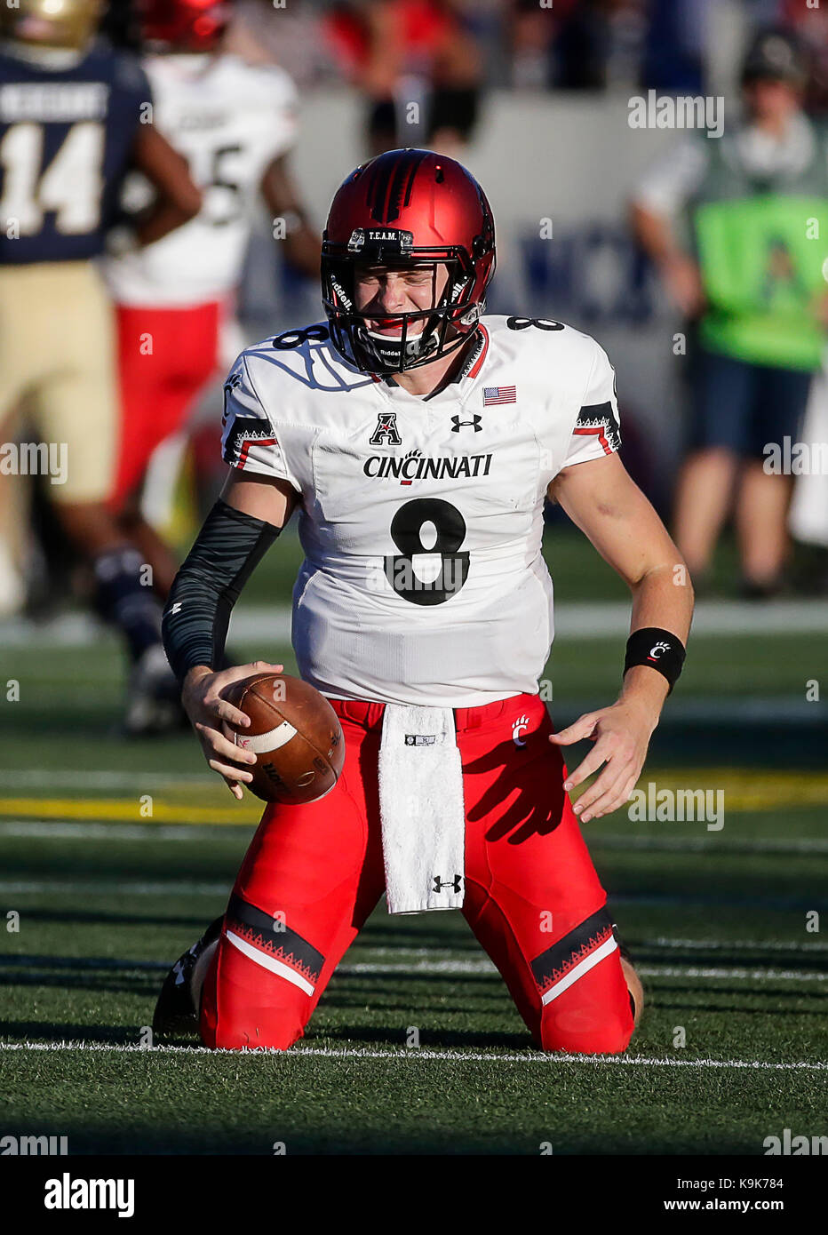 1d9bec33eea224 Cincinnati Bearcats QB  8 Hayden Moore is frustrated after being sacked on  3rd down during a NCAA football game between the United States Naval  Academy ...
