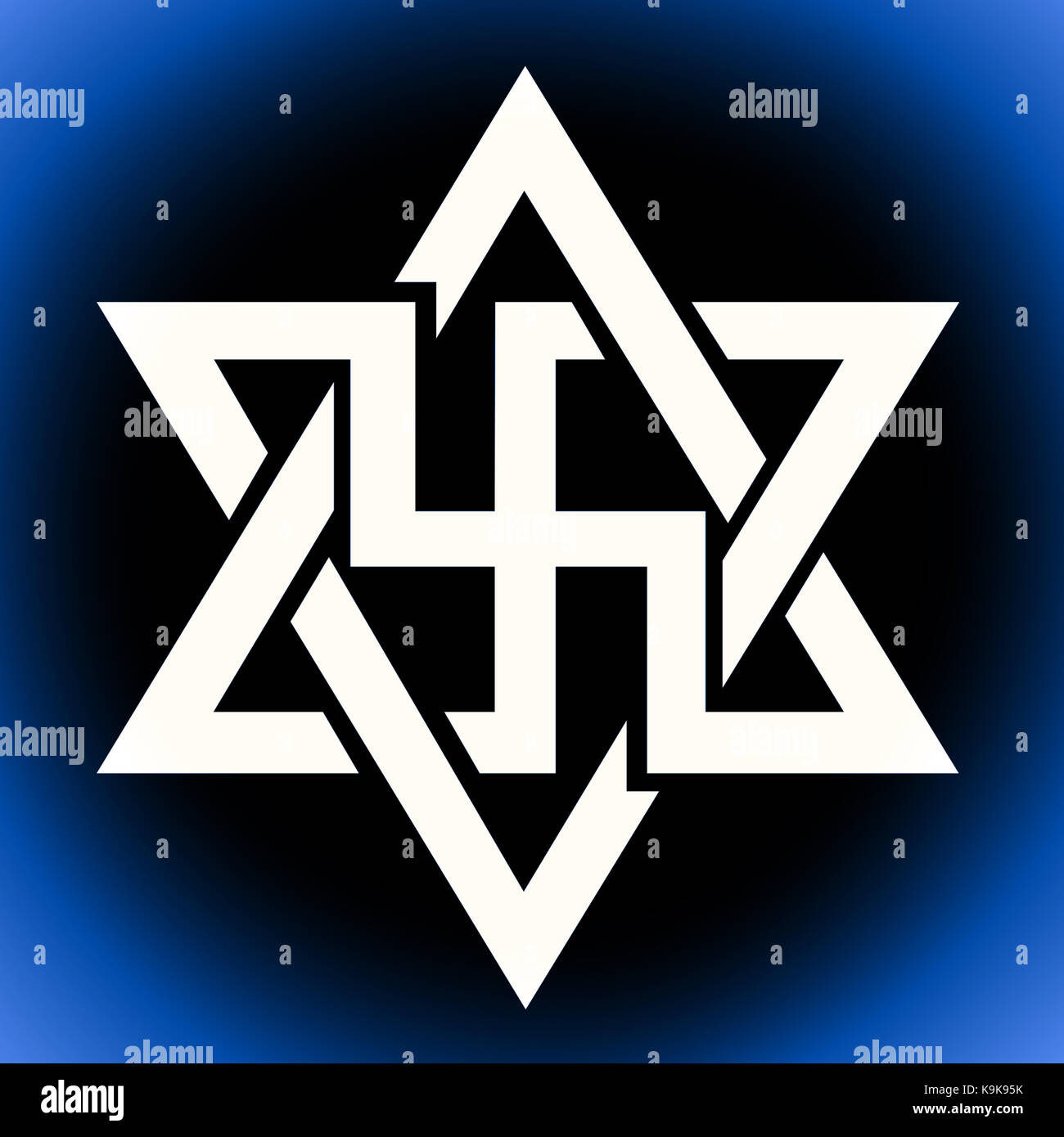 The Raelian symbol with the swastika embedded on the Star of David of the Raelism also known as Raelianism movement - Stock Image