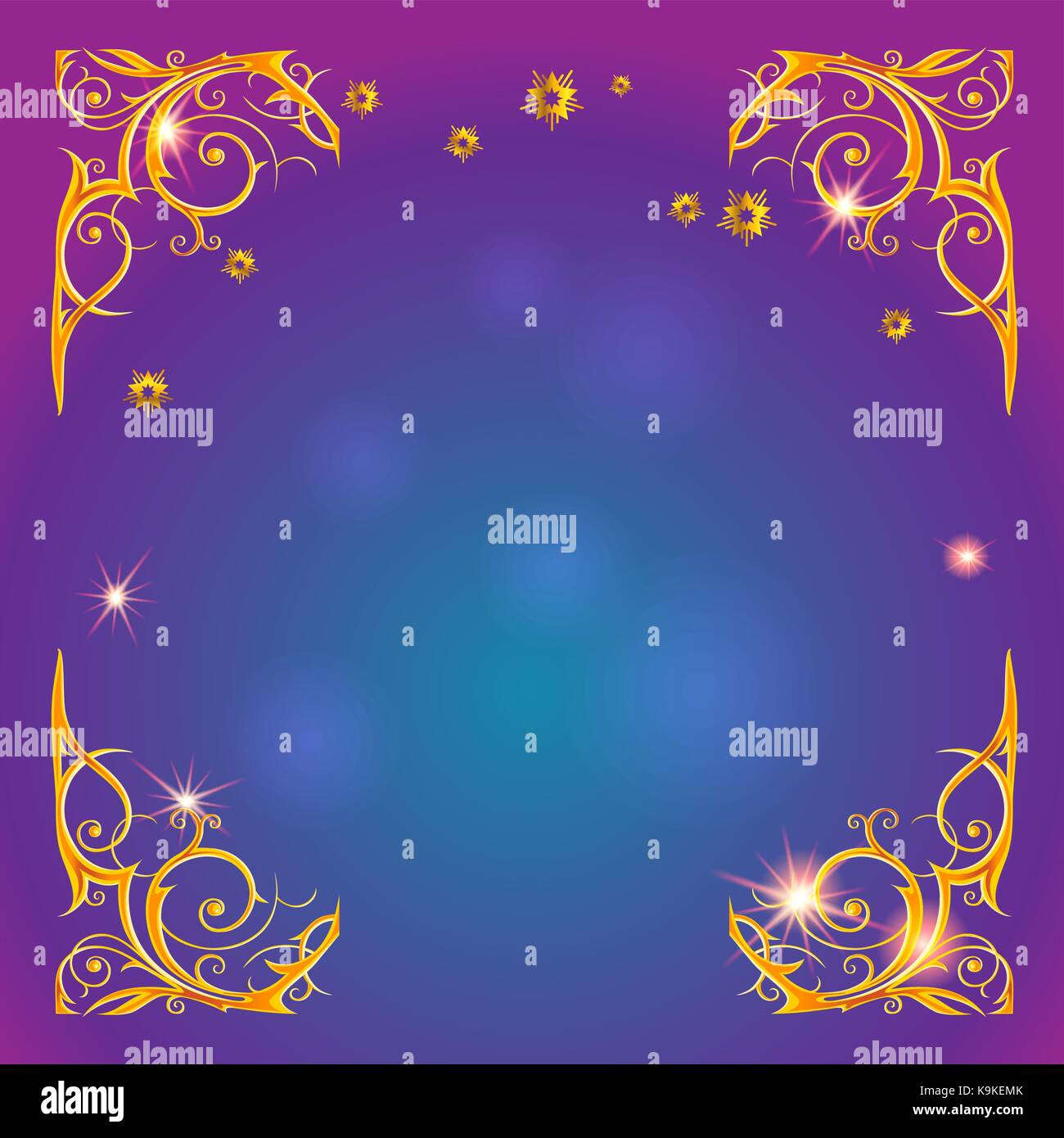 Gold holiday magic frame - Stock Vector