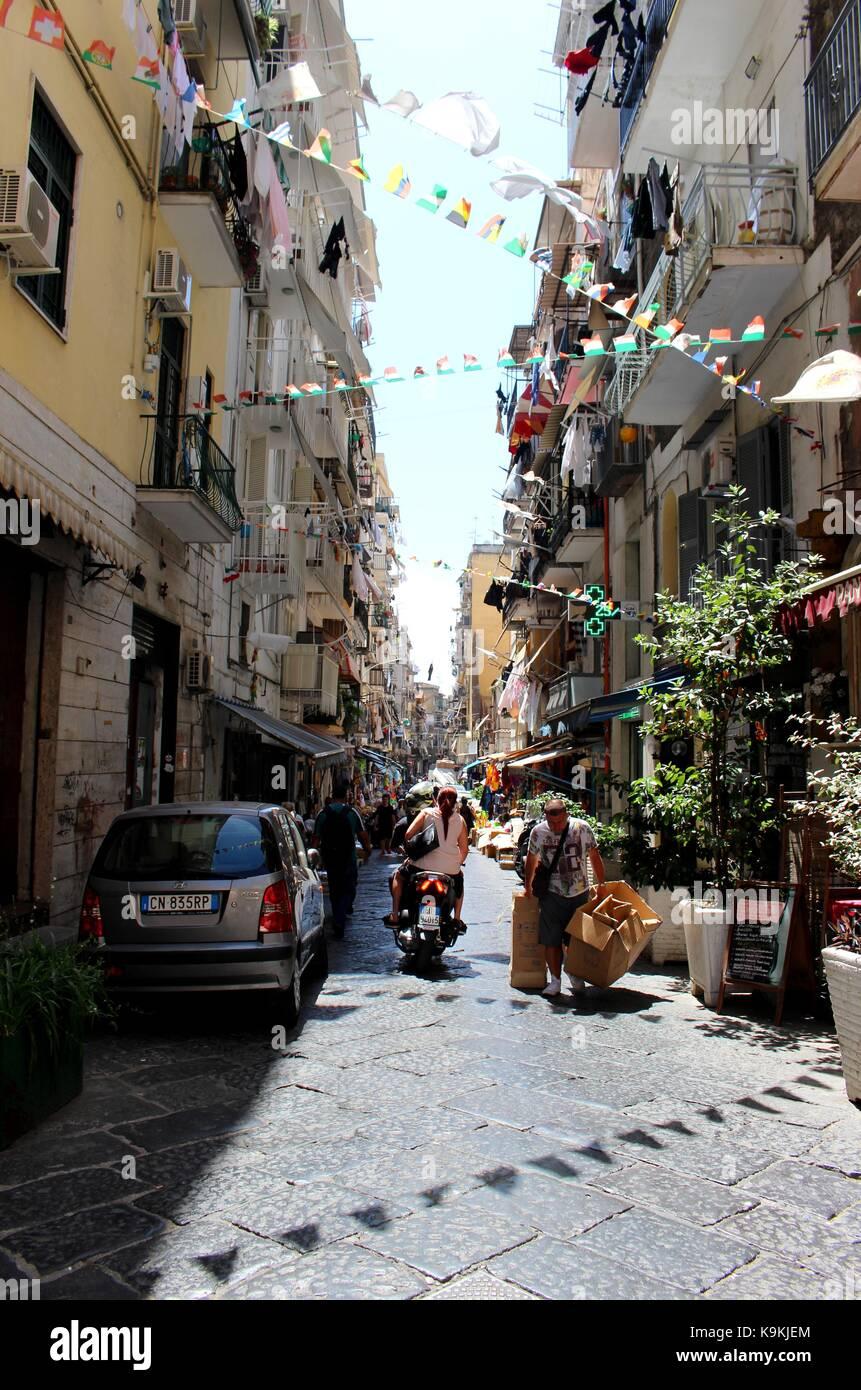 The energetic street life of Naples. Stock Photo
