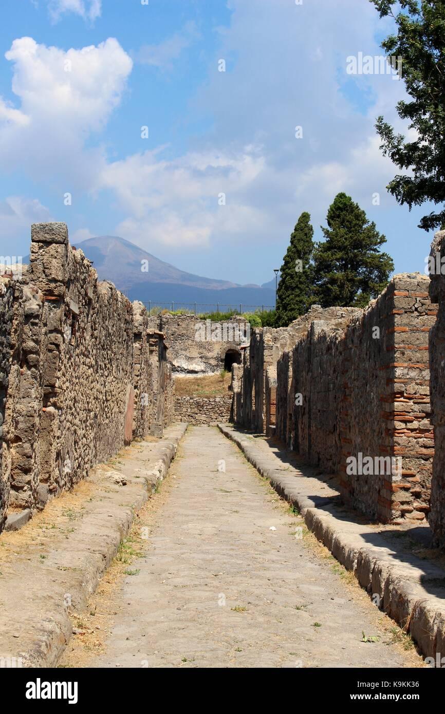 The empty streets of Pompeii. - Stock Image