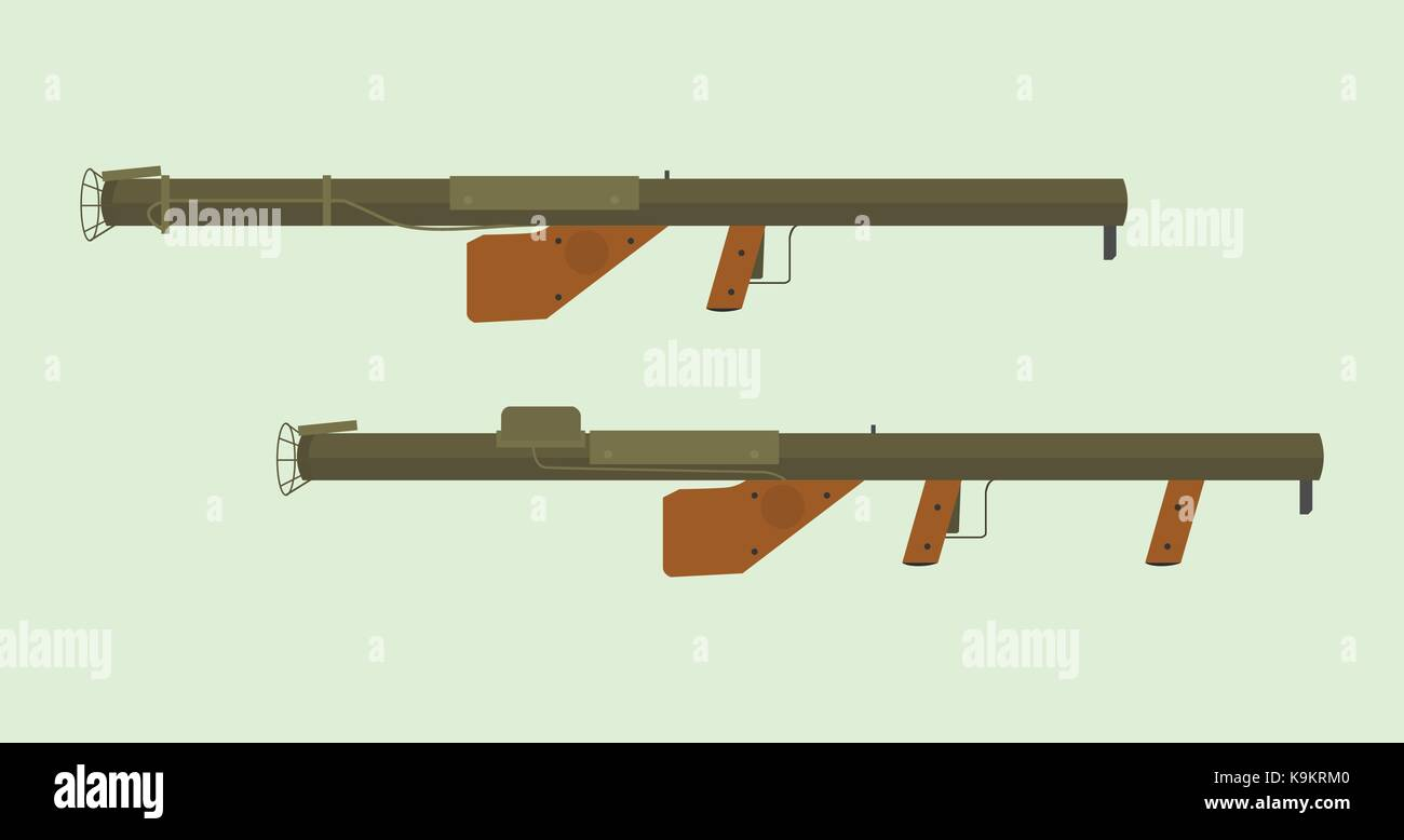 america usa united states ww2 anti tank weapon m1a1 and m1 type - Stock Vector