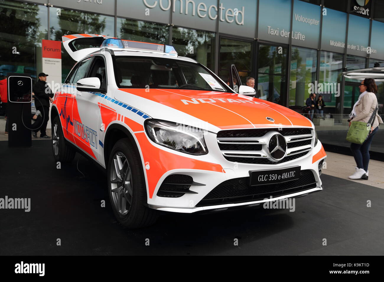 Mercedes Benz GLC 350 e hybrid in emergency services' livery at the Frankfurt Motor Show 2017 in Germany - Stock Image