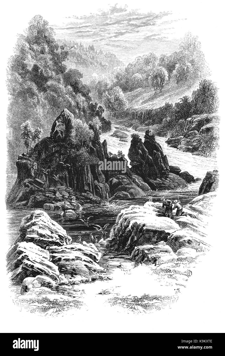 1870: Anglers in the  Dhruim, a river-gorge in Kilmorack Parish, traversed by the river Beauly. It is flanked by - Stock Image