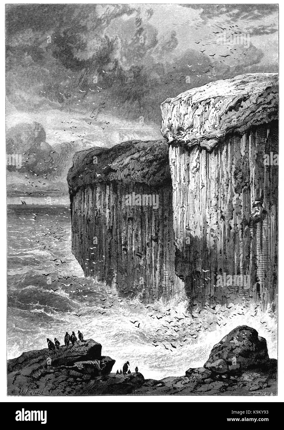 1870: Fingal's Cave is a sea cave on the uninhabited island of Staffa, in the Inner Hebrides of Scotland, known - Stock Image
