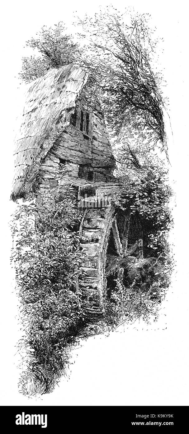 1870: The old mill at Tor aka Torre Abbey, near Torquay.  It was founded in 1196 as a monastery for Premonstratensian - Stock Image