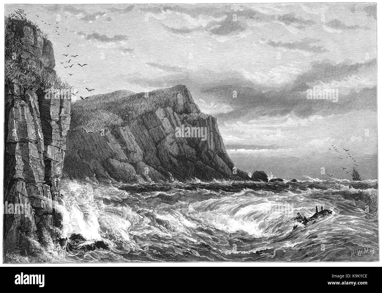 1870: Ilfracombe is a seaside resort and civil parish on the North Devon coast, England, with a small natural harbour - Stock Image