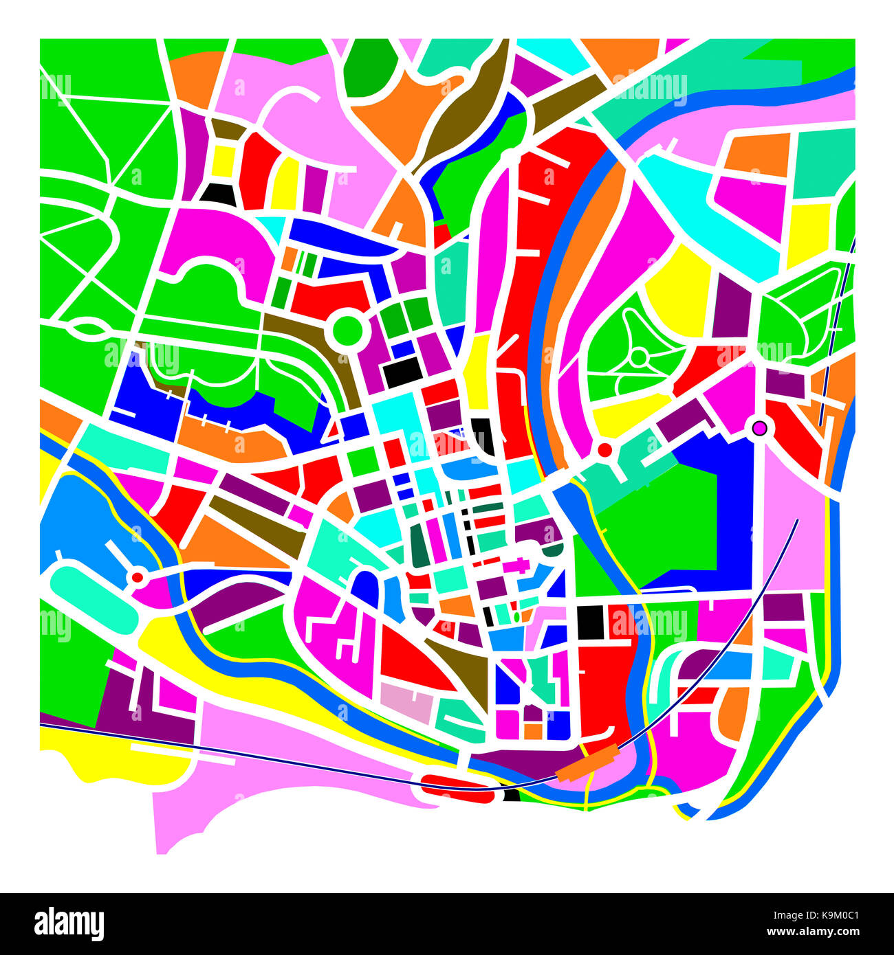 Colourful Graphic Representation of a Map of Bath Stock Photo