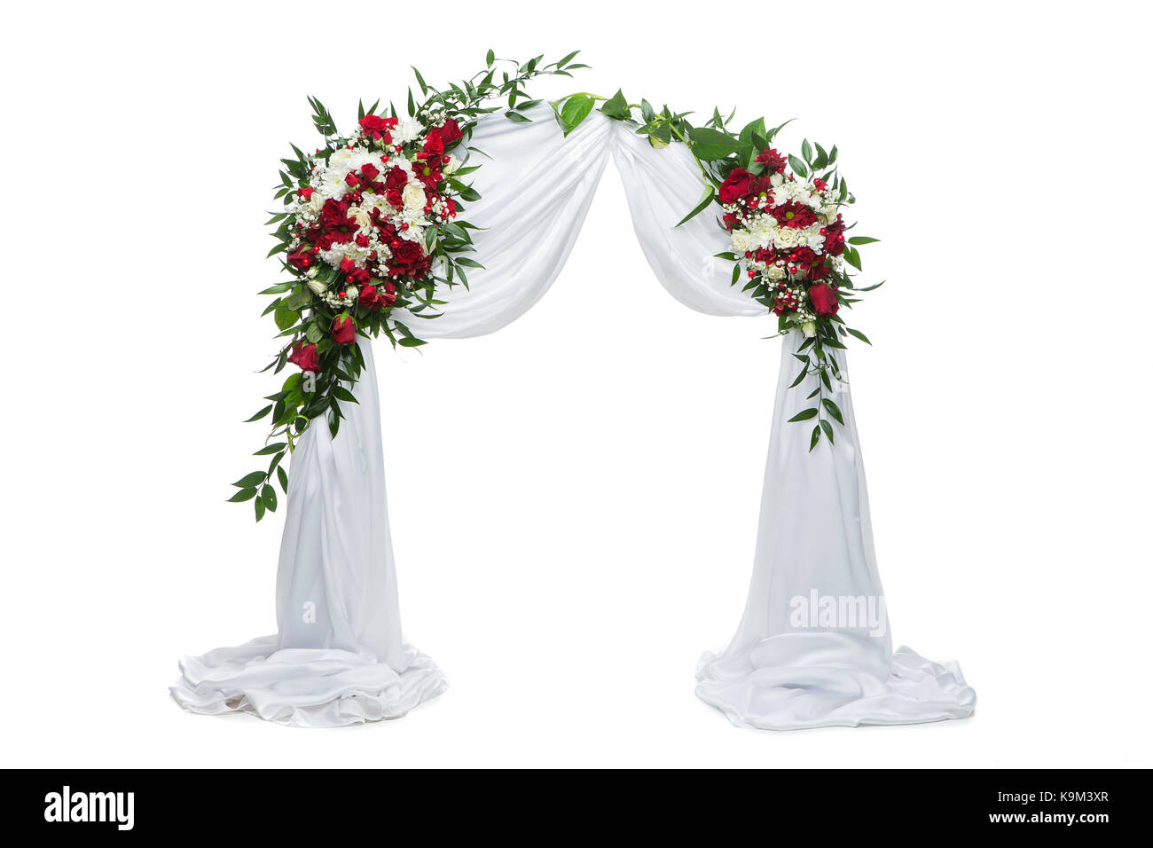 Beautiful Roses Flower Arch Wedding Decoration With Red And White