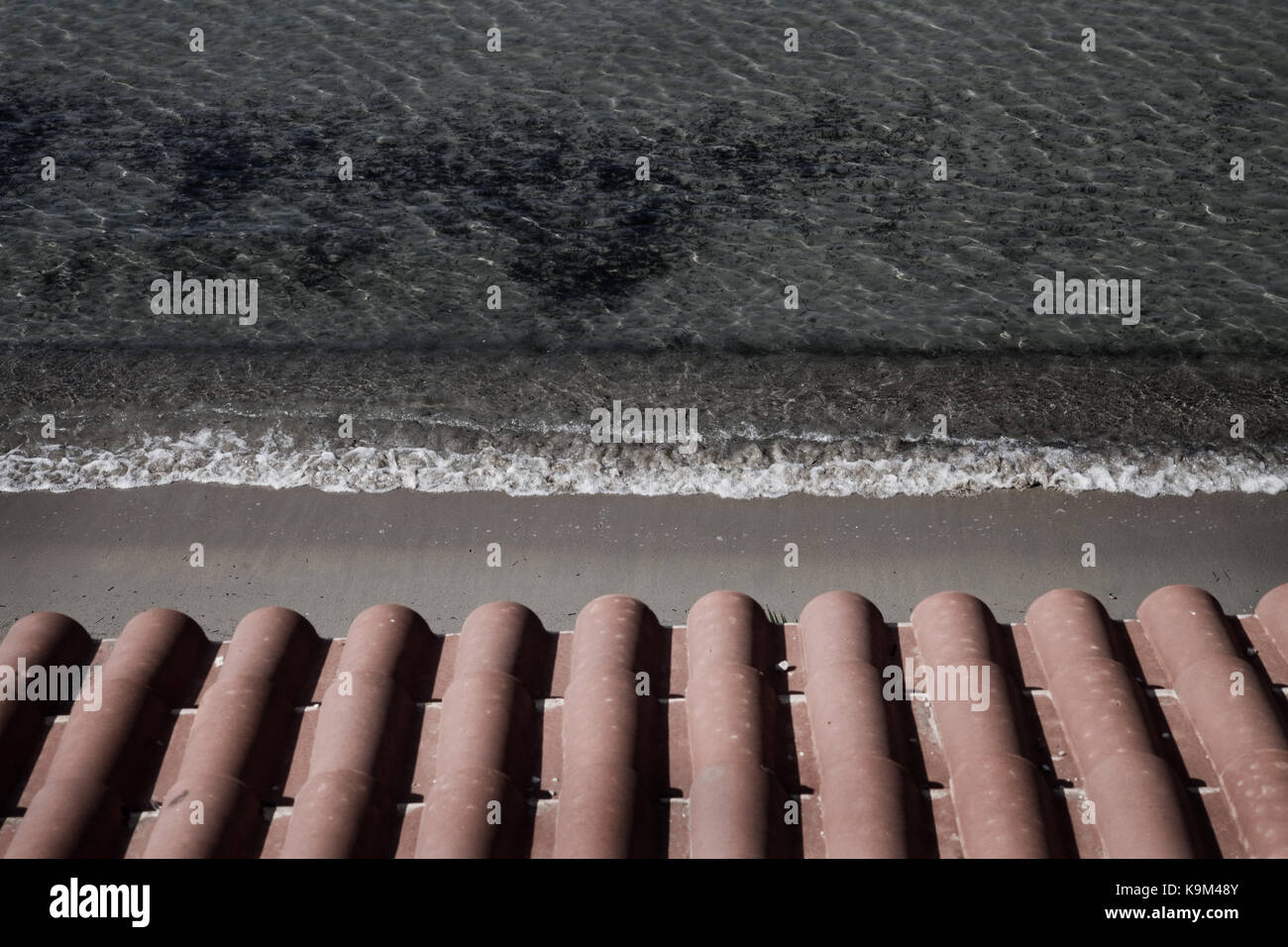 Roof above the beach, Pylos, Greece. - Stock Image