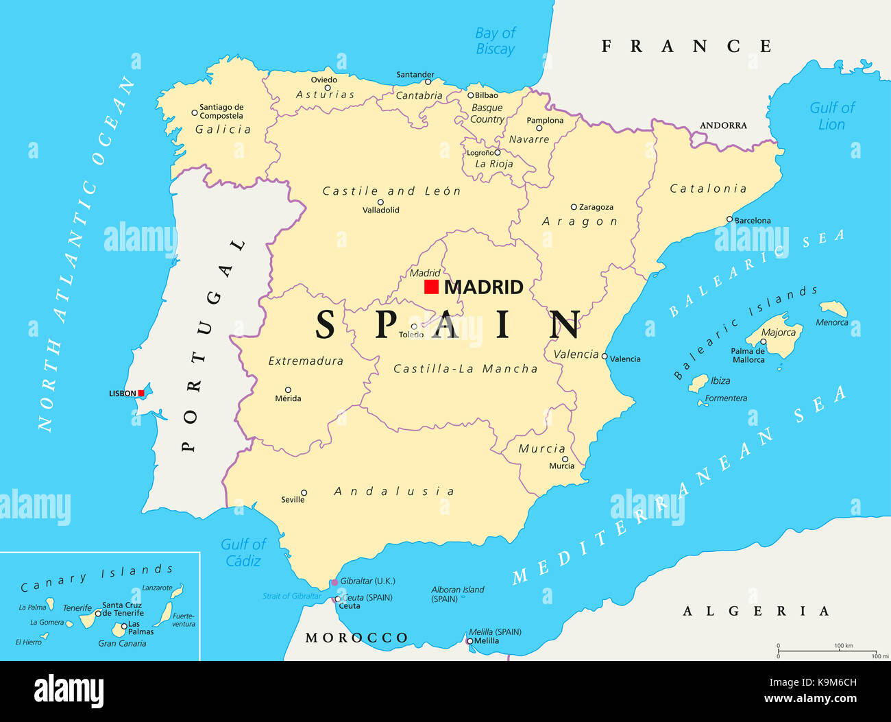 Spain administrative divisions political map Autonomous communities