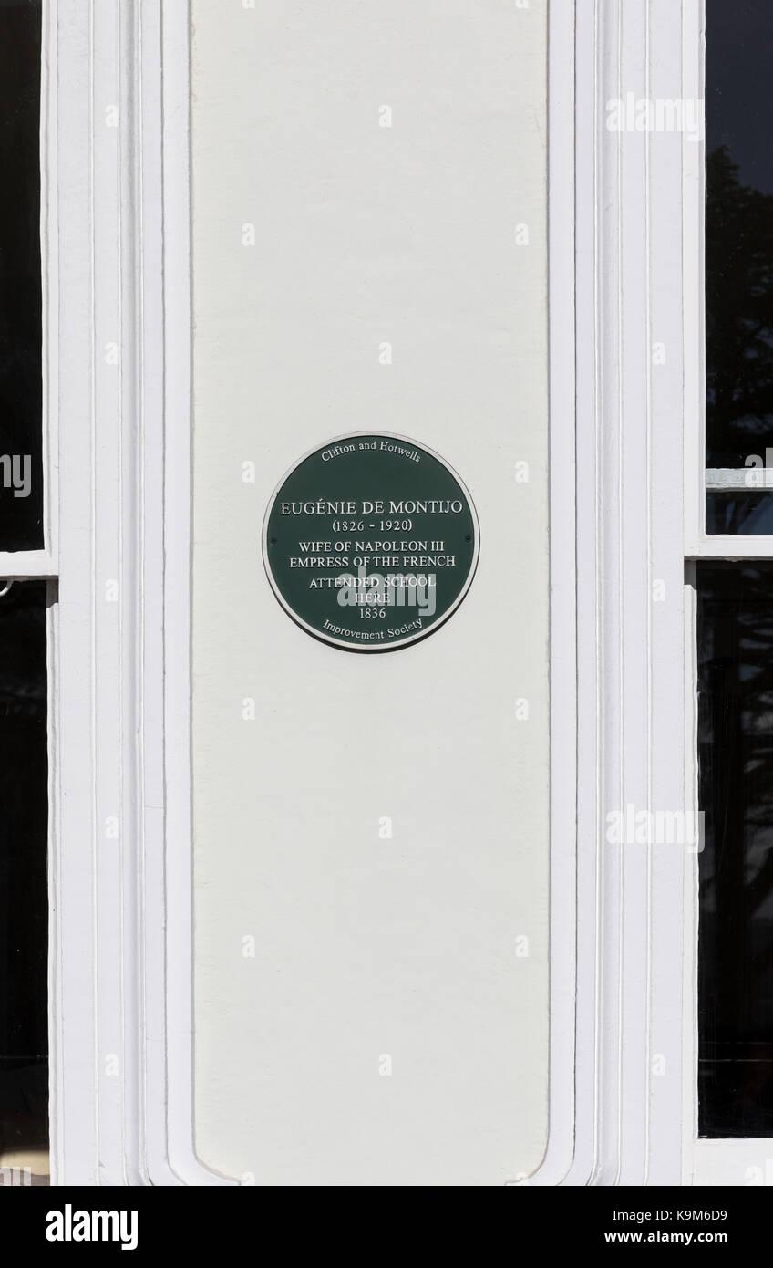 Eugenie de Montijo green plaque, Royal York Crescent, Clifton, Bristol, England - Stock Image