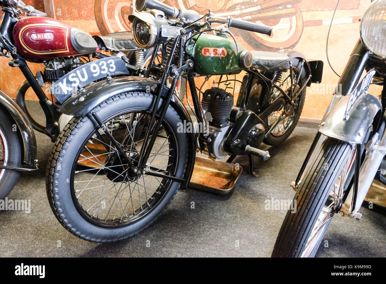 RSA classic British motorcycle at Transport Museum on Anglesey Wales - Stock Image