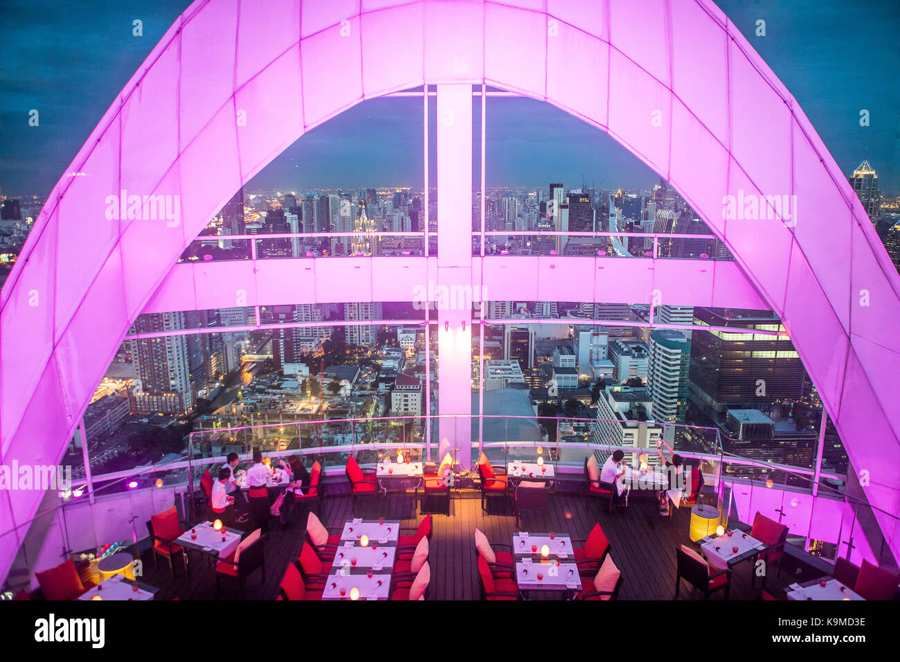 Red Sky Restaurant Rooftop. Bangkok. Thailand. On the top floor of the Centara Grand skyscraper in the city centre - Stock Image