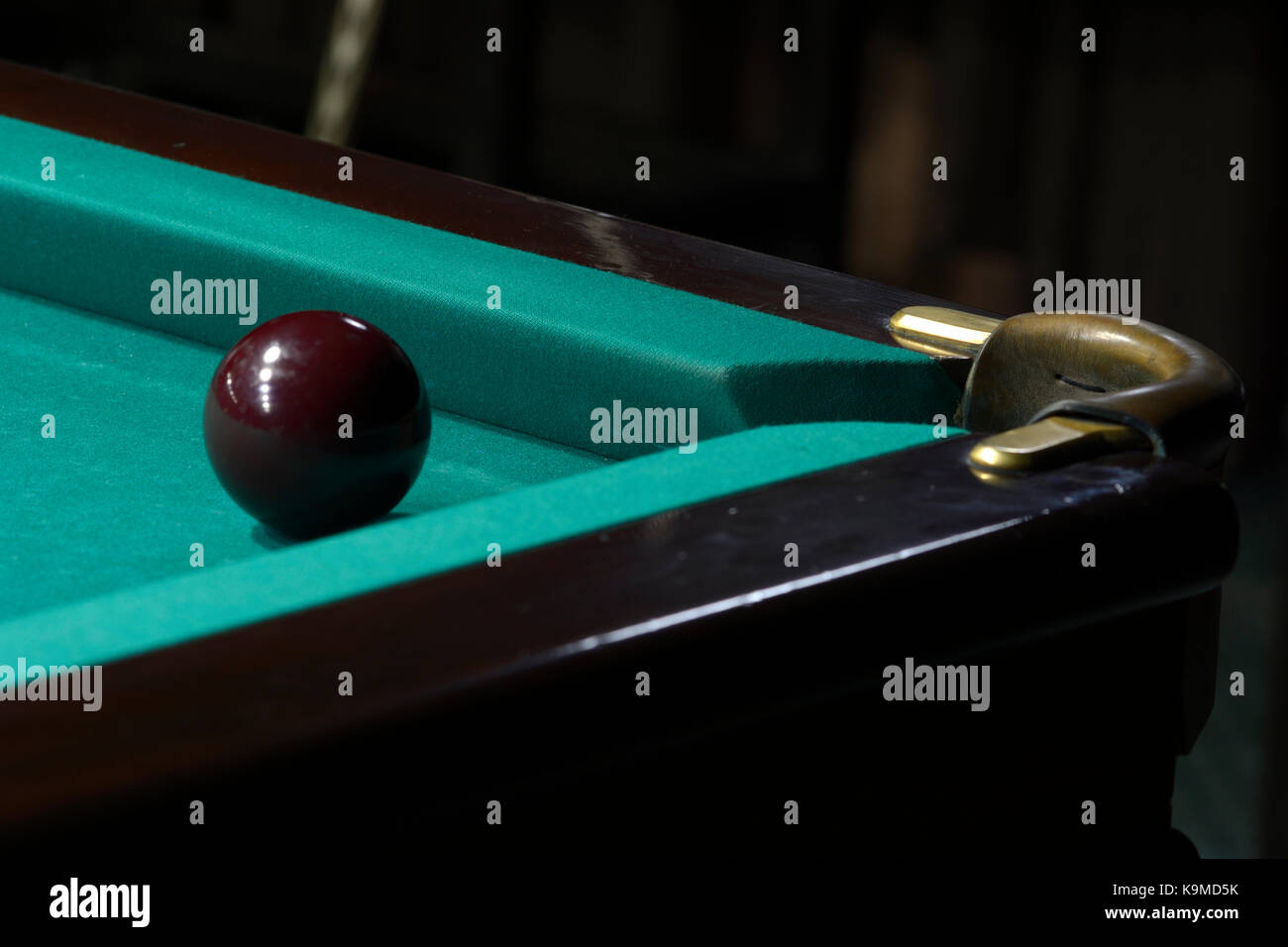 Billiard. A ball set against a pocket - Stock Image