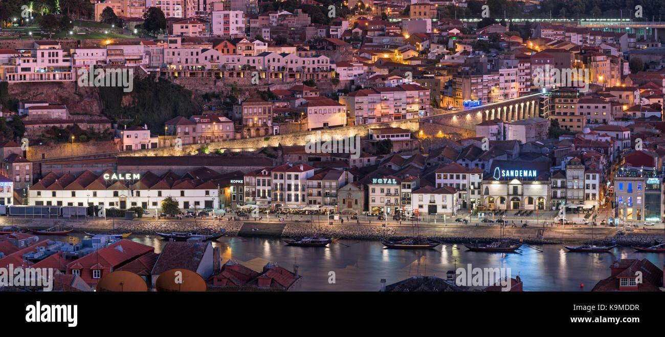 City view to Vila Nova de Gaia and port lodges Porto Portugal Stock Photo