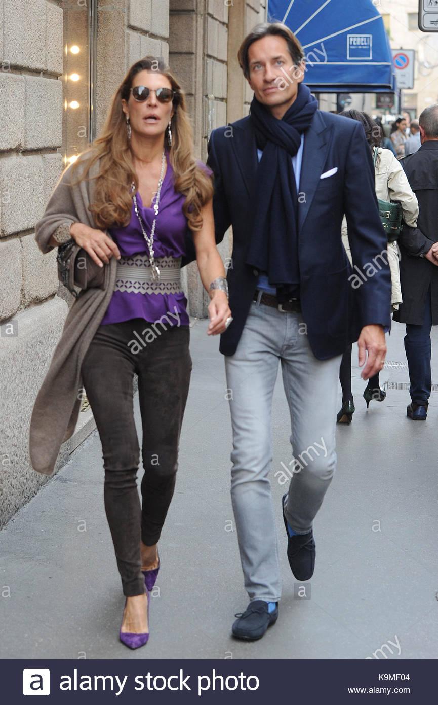 Fiona Swarovski And Karl Heinz Grasser Fiona Swarovski And Her Boyfriend Karl Heinz Grasser Walking In Via Monte Napoleone In Milan