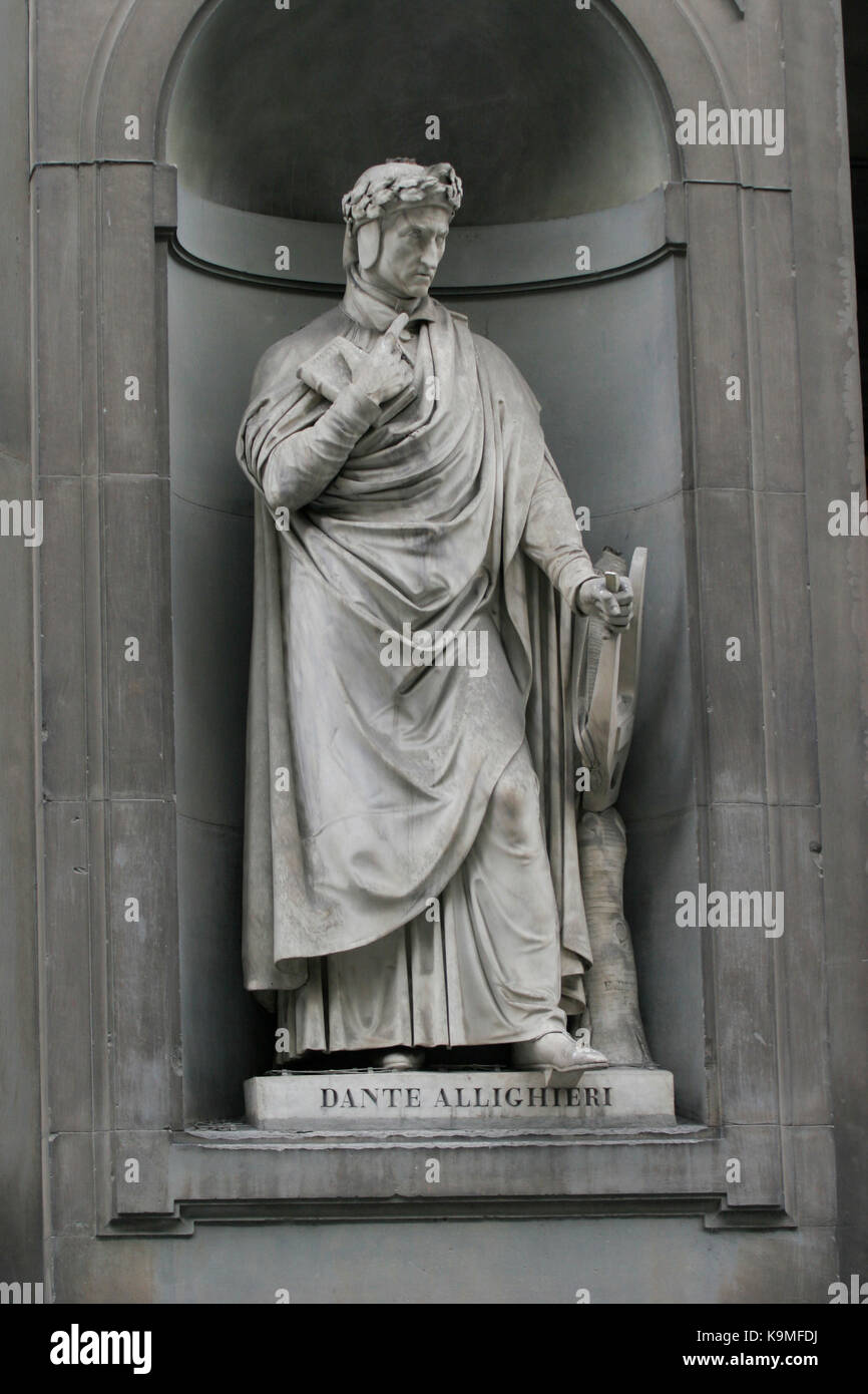 DANTE ALIGHIERI Author called as The Father of the Italian language as sculpture Uffizi  Florence 2017 - Stock Image