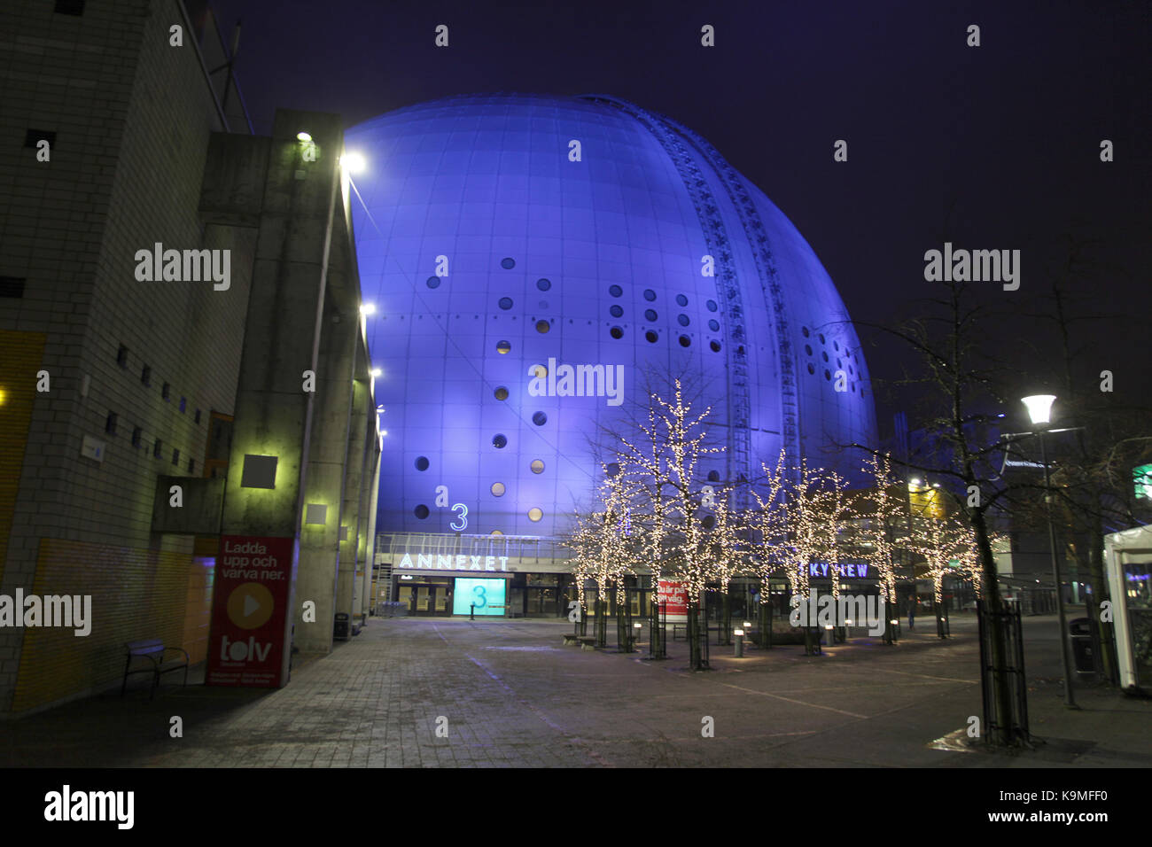 STOCKHOLM GLOBEN ARENA in facade lightning and Christmas decorations  2016 - Stock Image