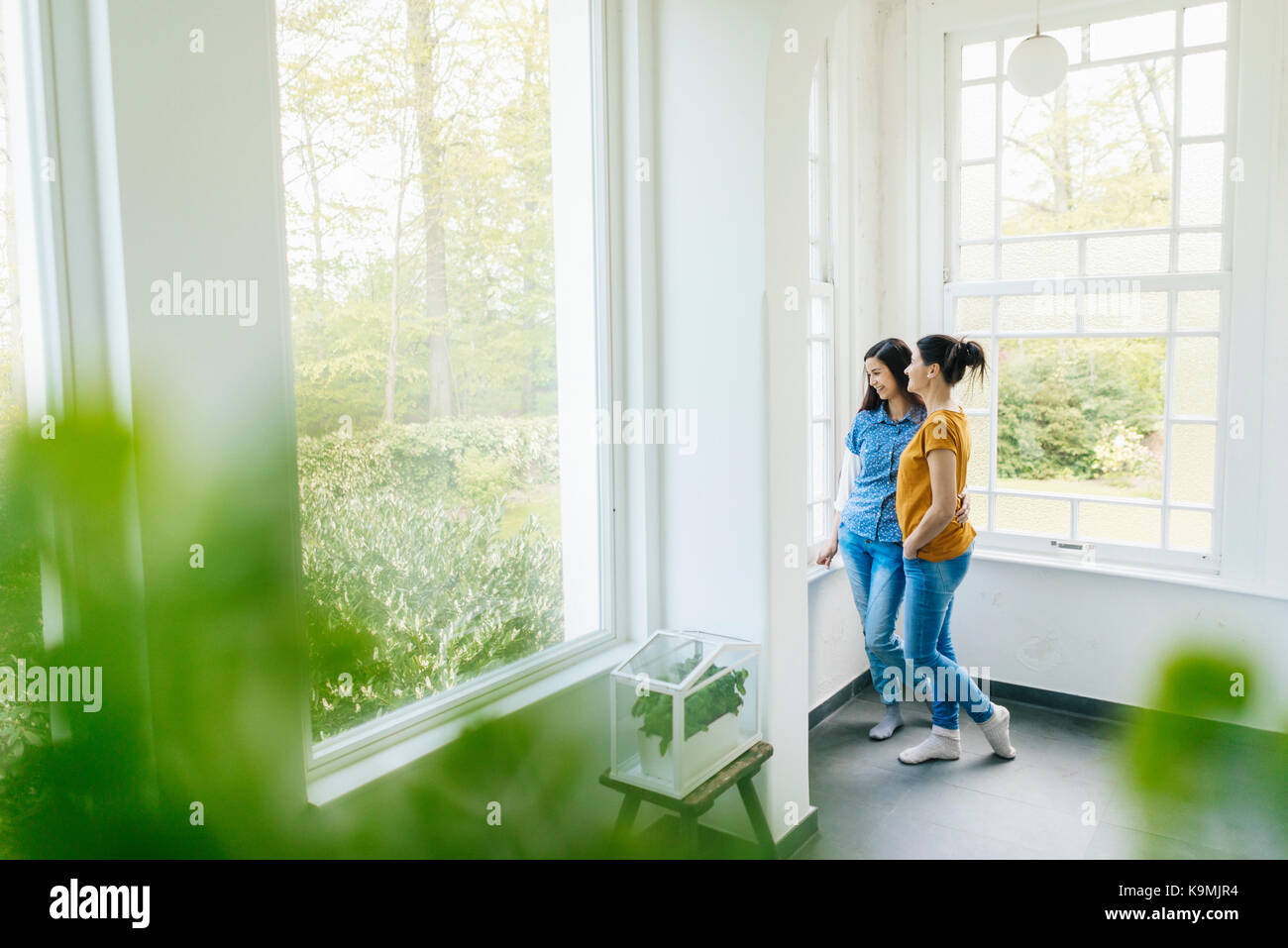 Two women with herbs in glass box at the window - Stock Image