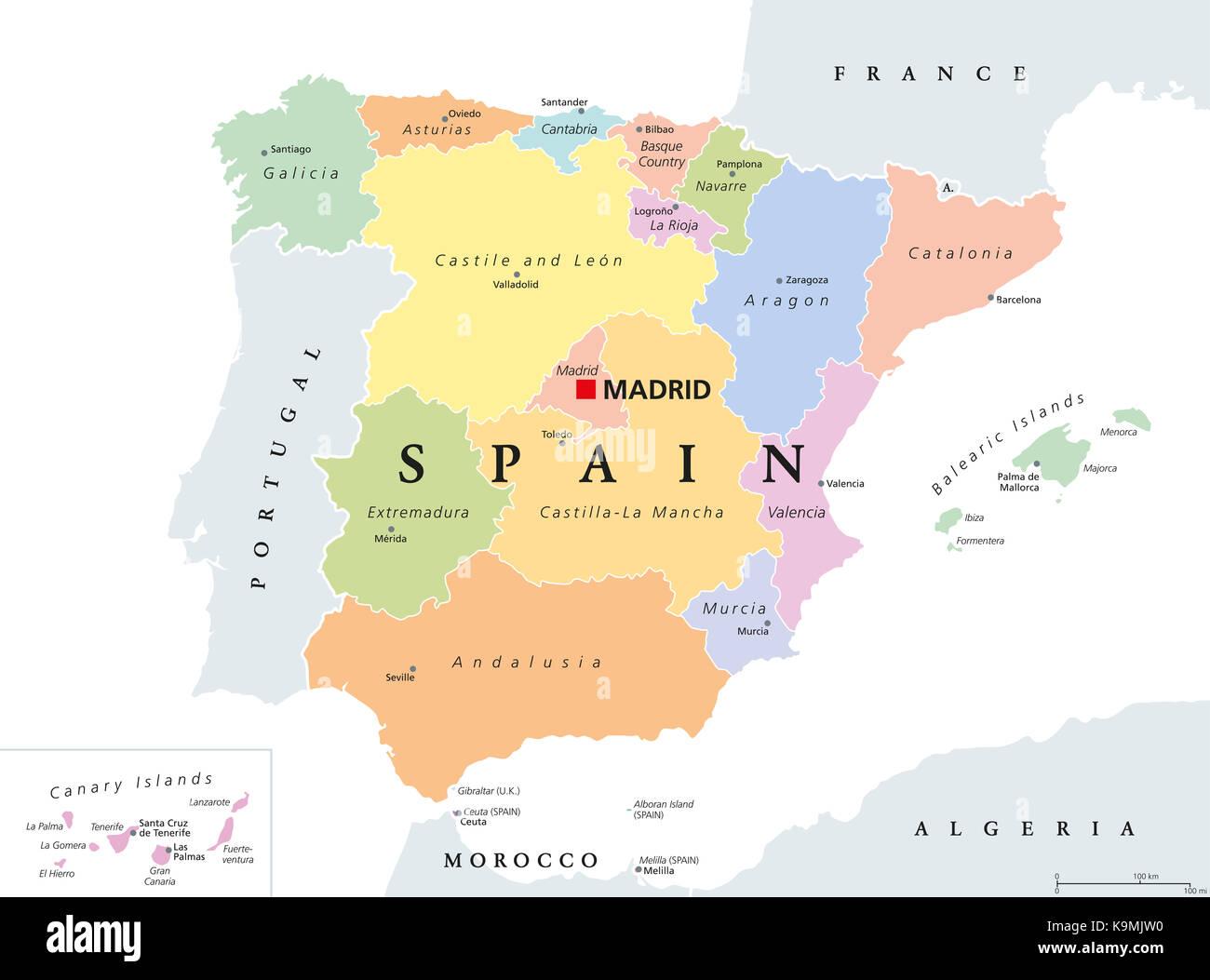 Autonomous communities of Spain political map Administrative Stock