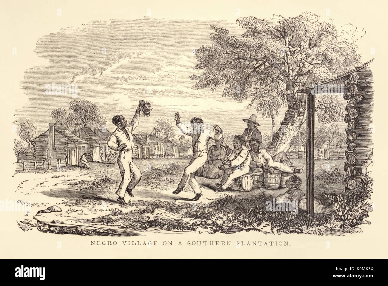 'Negro Village on a Southern Plantation' from 'Aunt Phillis's Cabin or Southern Life as it is.' by Mrs Mary - Stock Image