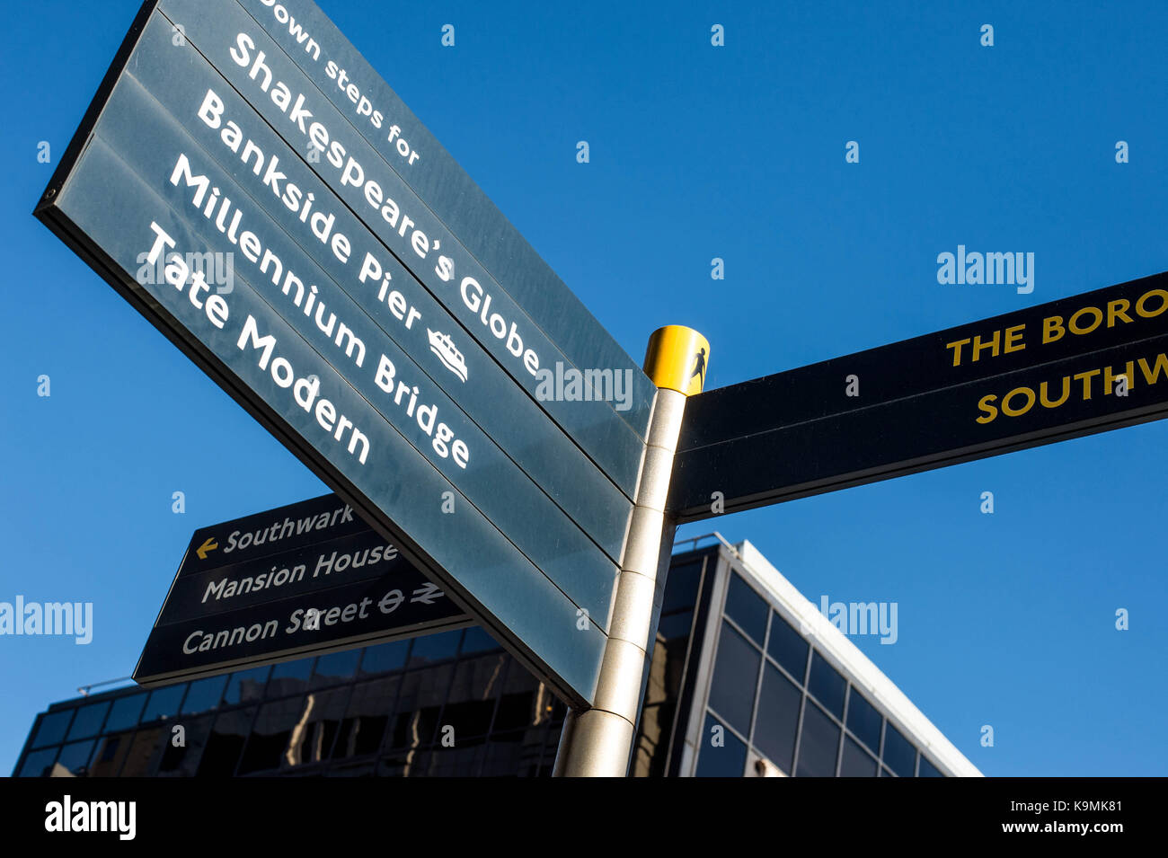 Pedestrian Directions Sign Board Southwark Bridge Road Bankside London United Kingdom Opposite the Financial Times - Stock Image