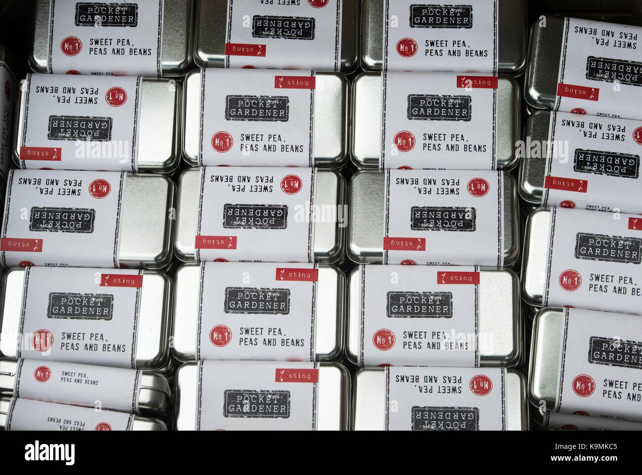 Pocket gardener kit tins on sale at a flower show. UK - Stock Image