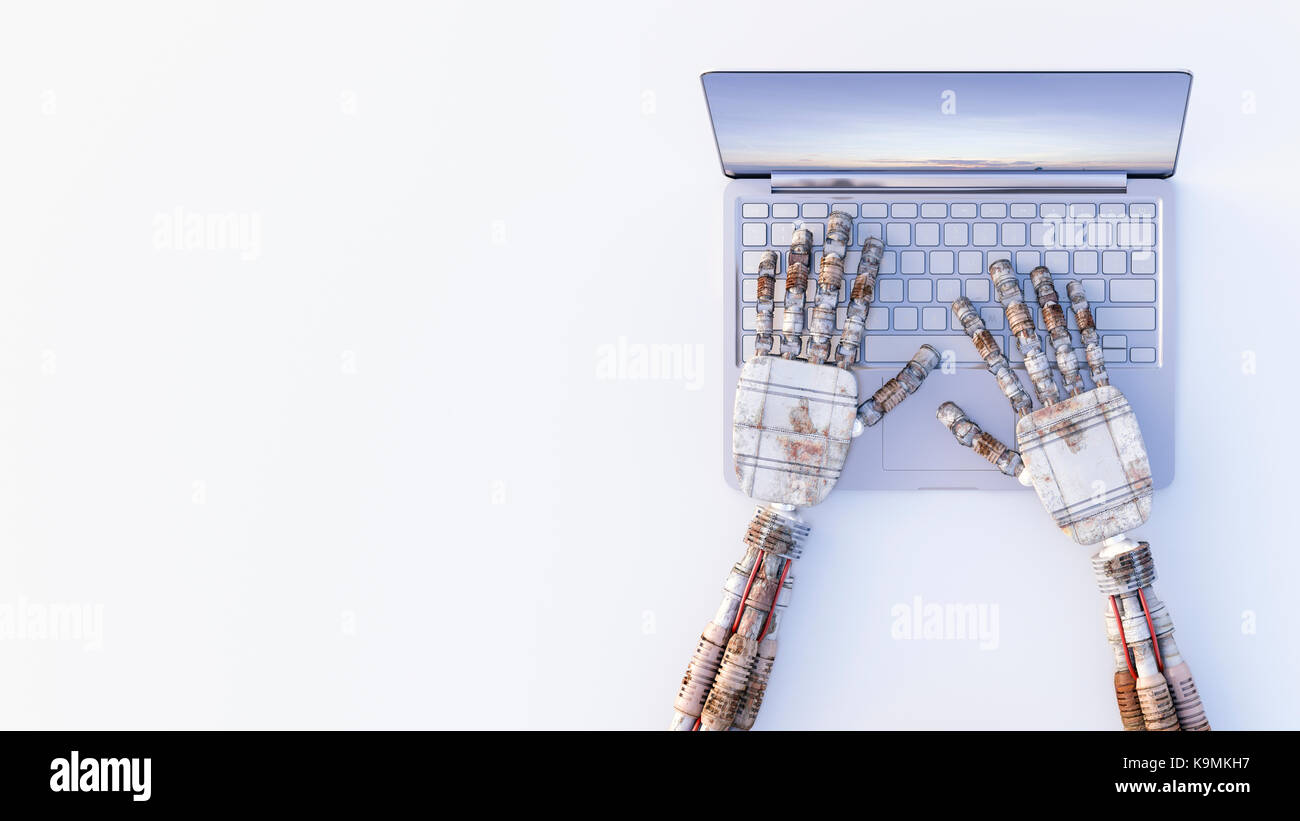Robot hands typing on a laptop - Stock Image
