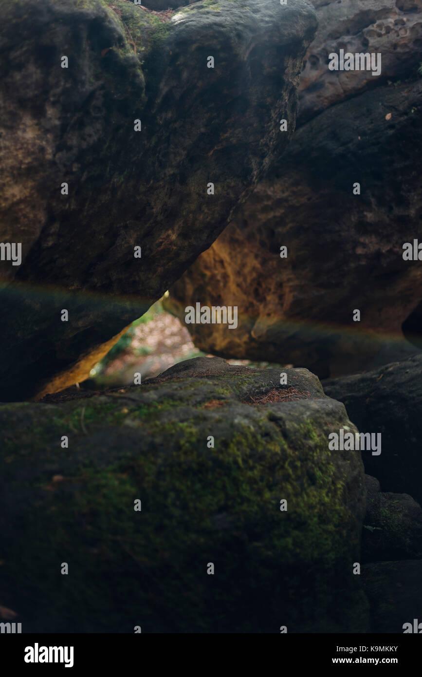 Tschechei, Elbsandsteingebirge, Tiske steny, Tyssaer Wände, Böhmische Schweiz, Felsen, Nationales Naturreservat - Stock Image